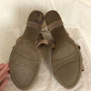 d2851326931 Franco Sarto Shoes - Franco Sarto Nude Suede Hachi Low Heel Sandals